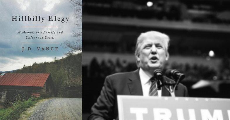 힐빌리('백인 촌뜨기') 출신의 보수주의자(J. D. Vance)가 쓴 [힐빌리의 애가: 위기에 처한 어느 가족과 문화에 관한 기록](왼쪽)과 트럼프. 2016년 '힐빌리'로 상징되는 '남겨진 자들'의 선택은 잘난 도시것이 아니라 광대 트럼프였다.