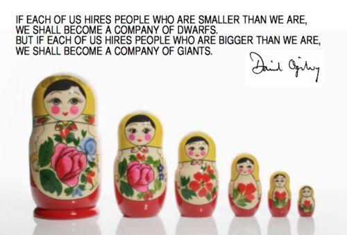 오길비의 러시아 인형, 오길비는 직원 각자가 모두 창의적인 경영인이 되길 바랐다.