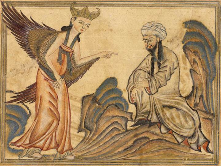 천사 가브리엘의 계시를 받은 무함마드 (14세기 그림)
