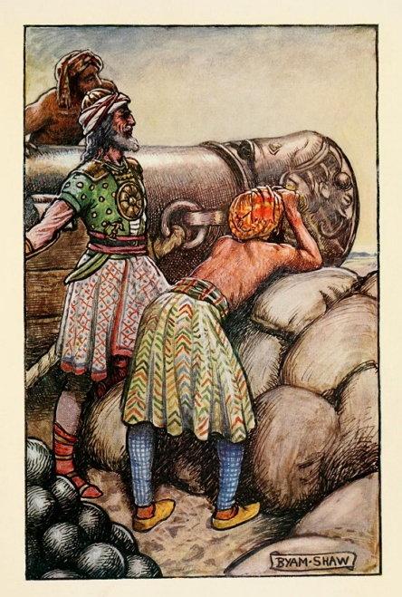 악바르(اکبر) 치세 당시 구르칸군의 포병대를 묘사한 그림. (출처: 1913년 존 바이엄 리스턴 쇼(John Byam Liston Shaw) 작, '악바르의 모험(The Adventures of Akbar)' 수록)