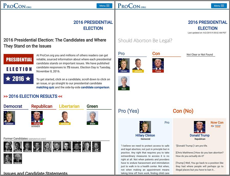 대선후보들의 주요 이슈(좌측)에 대한 입장을 설명(우측)해주는 서비스 (출처: 프로콘(procon.org))
