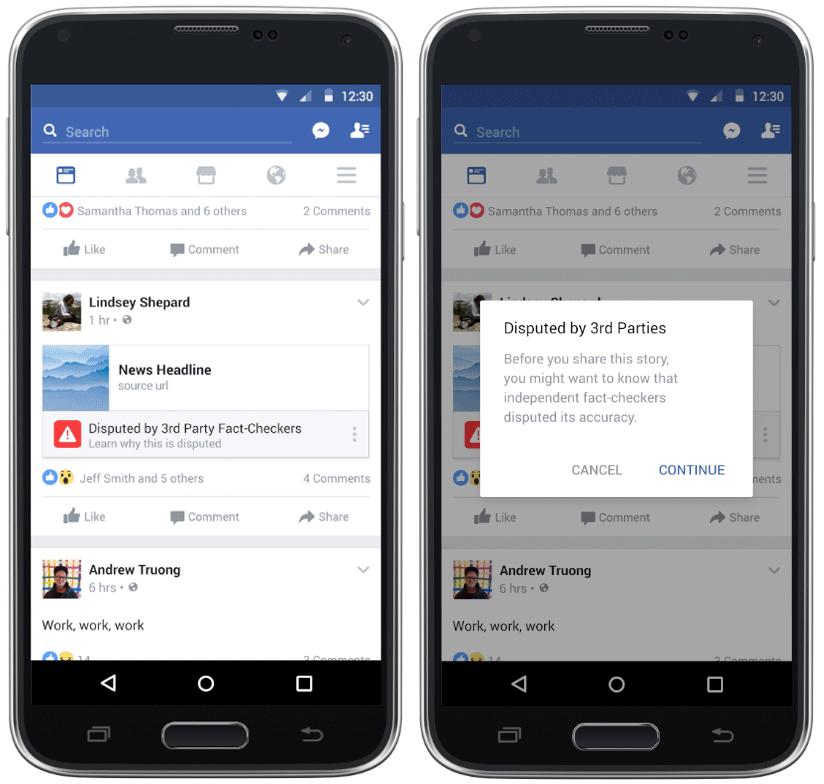 페이스북의 가짜 뉴스 판별 시스템 (출처: 페이스북 뉴스룸)