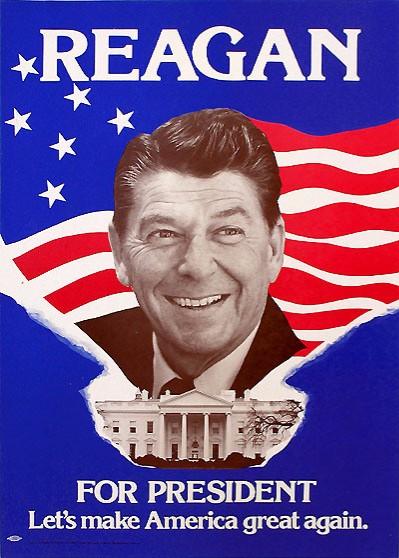 """로널드 레이건의 1980년 미국 대통령 선거 캠페인 슬로건은 """"미국을 다시 한번 위대하게 만들자""""였다. (출처: 위키피디아)"""