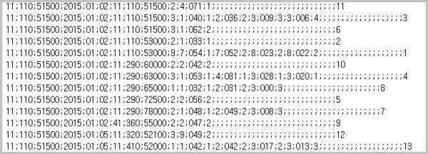 0부터 9까지의 숫자, 그리고 오직 쎄미콜론의 11개 문자로 600만 행이 가득 차 있다. (클릭하면 커짐)