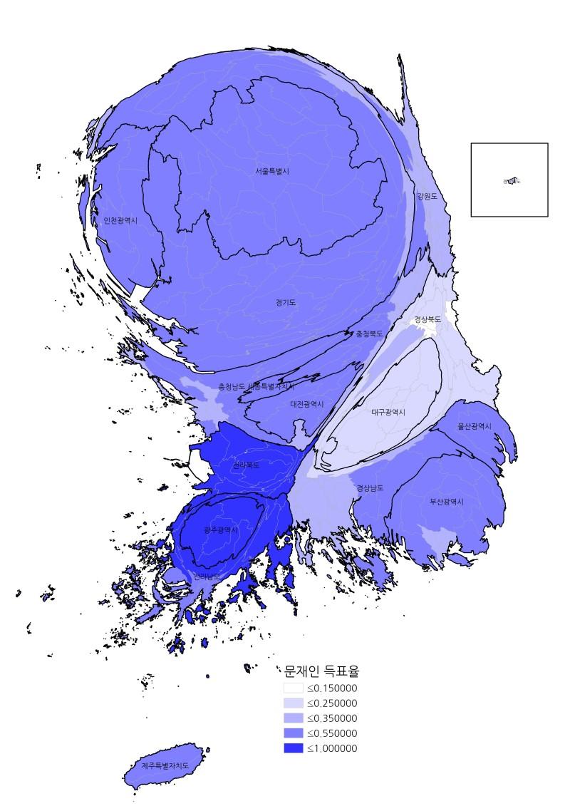 제19대 대선 문재인 후보 시군구별 득표 (*클릭하면 커집니다.)
