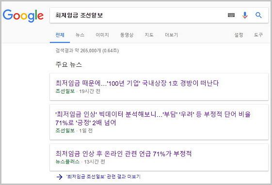 최저임금에 관한 부정적인 보도를 꾸준하게 생산하는 조선일보.