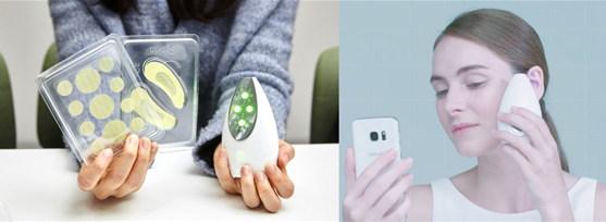 삼성전자의 에스스킨('S-Skin'). 센서를 이용한 측정과 광테라피를 하나의 기기에서 지원한다.