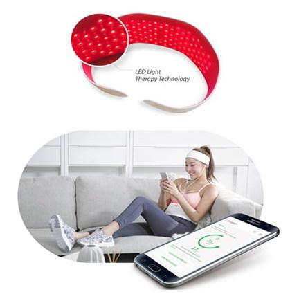 광테라피 복부관리 기기. 스마트폰 앱과 연동, 사용기록 및 체지방을 관리한다. (출처: 루미다이어트)