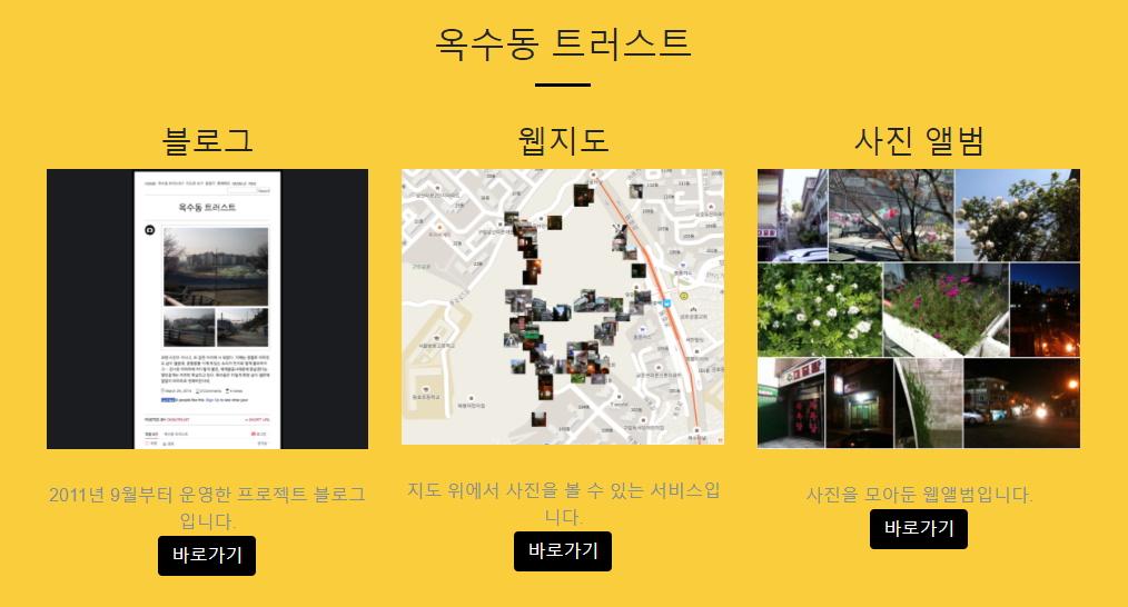 '온라인(디지털)' 옥수동 트러스트 3종 세트: 블로그, 웹지도, 사진 앨범