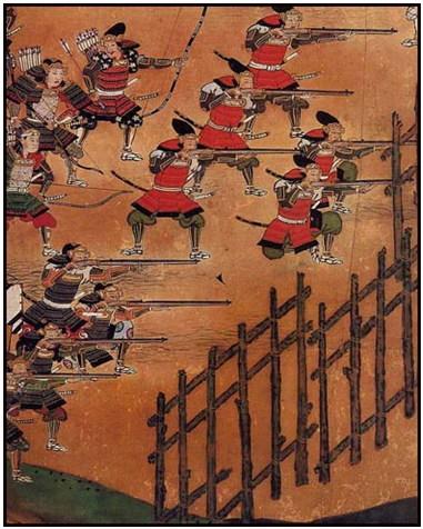 임진왜란 직전 나가시노 전투(1575)에서 오다군이 사용한 철포대