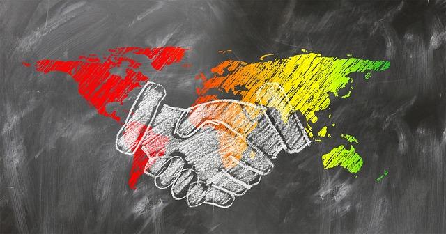 악수 협상 지도 세계 대화
