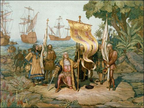 아메리카 대륙에 도착한 콜럼버스를 묘사한 그림.
