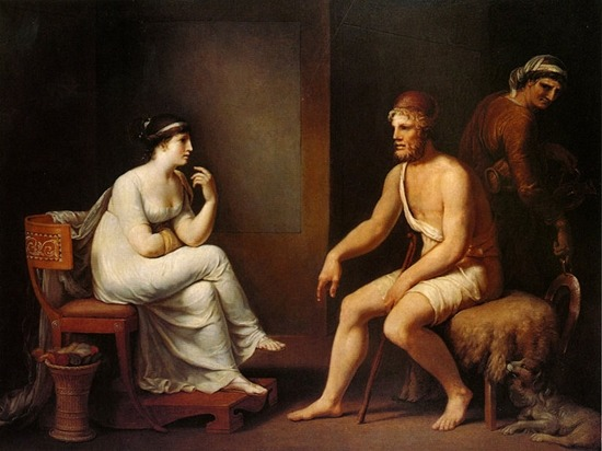 Johann Heinrich Wilhelm Tischbein (1751–1829), Odysseus and Penelope, 1802, oil on canvas, 86.8 × 107.9 cm