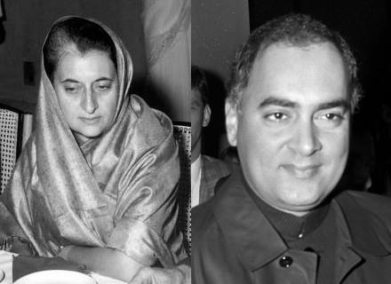 네루의 외동딸이자 인도 유일의 여성 총리였던 인디라 간디(왼쪽, 1917년 11월 19일~1984년 10월 31일)와 아들 라지브 간디(1944년 8월 20일 ~ 1991년 5월 21일, 위키미디어 공용, CC BY SA 3.0) 둘 다 암살로 유명을 달리했다.