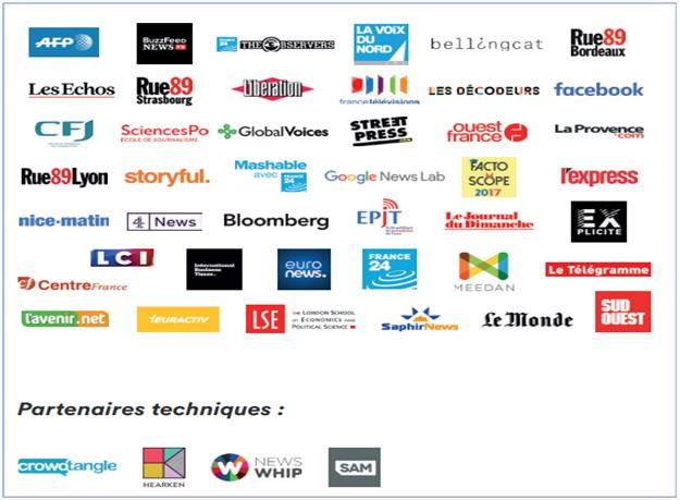 '크로스체크' 프로젝트의 파트너(언론사와 테크기업들)