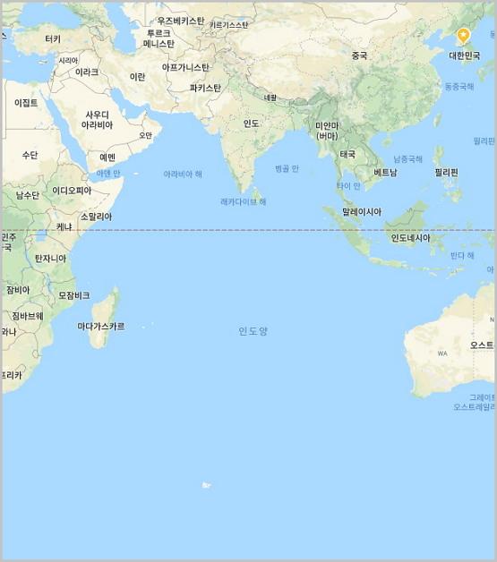 인도양 (출처: 구글 지도 캡쳐)