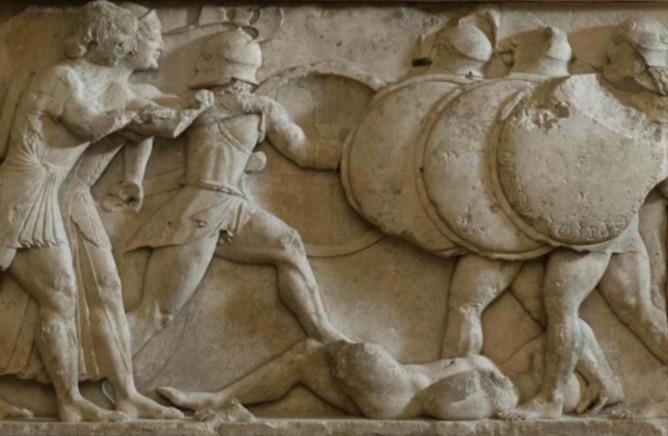 멜로스의 대학살(기원전 415년). 멜로스를 명망시킨 '민주정' 아테네는 성인 남성을 모두 죽이고, 아이와 여성은 노예로 삼았다.