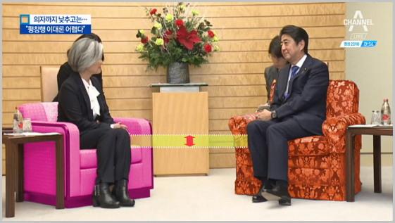 """손님 의자는 낮추고, 제 의자는 높이고. 속좁은 모습을 보인 아베 총리. (출처: 채널A, 의자까지 낮추고는..""""평창행 이대론 안 된다"""" 중에서, '17. 12. 21.) http://v.media.daum.net/v/20171221201837752"""