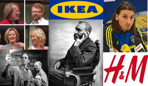 스웨덴 하면 떠오르는 것? (사진: 아바, 이케아, H&M, 노벨, 잉마르 베르만, 좌측부터 시계방향으로, 출처: 위키미디어 공용) 여기에 '북미 정상회담'이 추가될 수도?