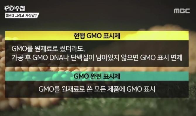현행 GMO 표시제(화면 위쪽)과 GMO 완전 표시제(화면 아래쪽)의 차이. (출처: MBC, PD 수첩