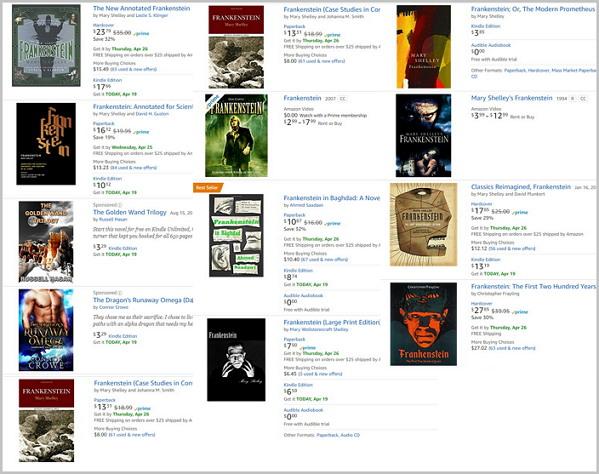 아마존닷컴 '프랑켄슈타인' 검색 화면 일부 발췌. 프랑켄슈타인의 지속적인 생명력과 영향력을 확인할 수 있다.