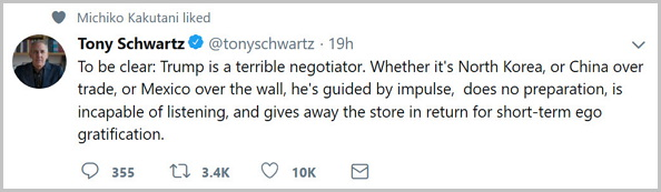 작가이자 컨설턴트인 토니 슈워츠의 트윗. 전직 뉴욕타임스의 서평팀장인 미치코 가쿠타니가 '좋아요'를 눌렀다: