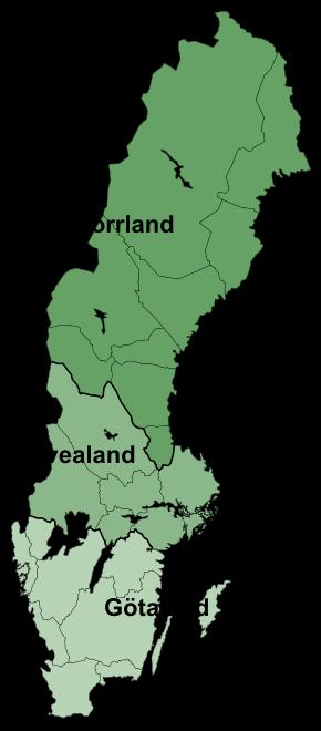스웨덴을 크게 셋으로 나눈 지도. 북쪽 지역이 놀란드.