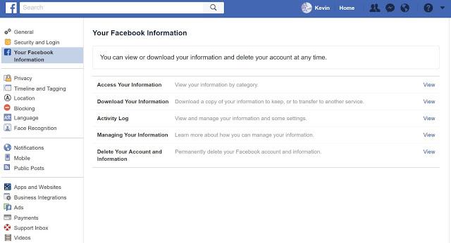 페이스북의 '설정'→ '일반'→'계정 관리'→'계정과 정보 삭제' 순으로 선택한다.