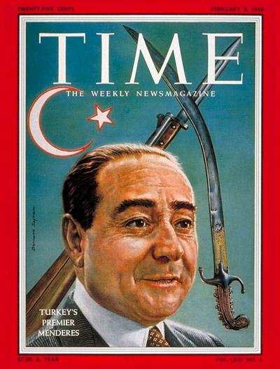 타임 표지를 장식한 멘데레스 (1958년 2월 3일 자)