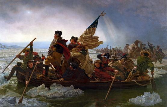 """엠마뉴얼 루체, """"델라워어 강을 건너는 워싱턴"""" (1851)"""