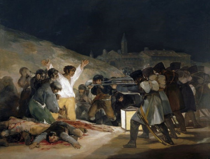 고야, 1808년 5월 3일의 학살, 1814년작. 스페인 독립전쟁의 시발점이 된 1808년 5월 2일의 마드리드 반란사건 다음날의 처형을 모티브로 한 작품.