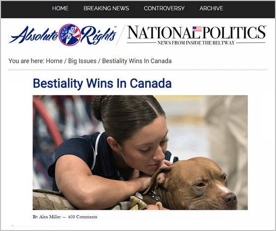 에스더기도운동이 반박 근거로 내세운 수간 관련 기사. 역시 반박 근거와는 전혀 상관 없다. https://absoluterights.com/bestiality-wins-canada/