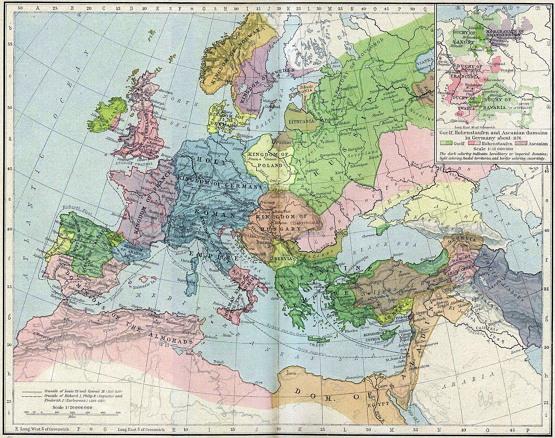 1190년 유럽과 지중해 권역 지도