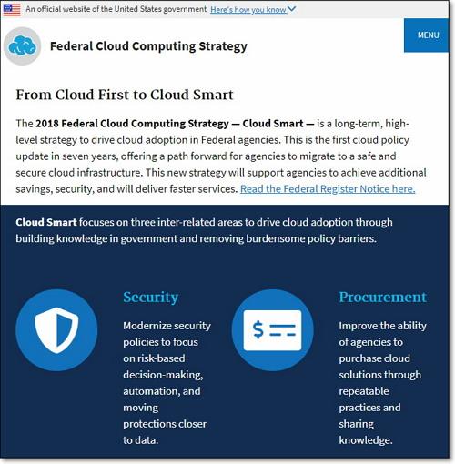 미국 정부의 새로운 2018 클라우스 컴퓨팅 전략 '클라우드 스마트' https://cloud.cio.gov/