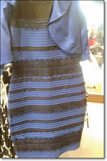 스코틀랜드 가수 케이틀린 맥네일이 텀블러에 올린 사진 한 장으로 촉발된 이른바 '흰금' vs. '파검' 드레스 색깔 논쟁. 이렇게 사람마다 다르게 보는 원인은 착시 때문이다.