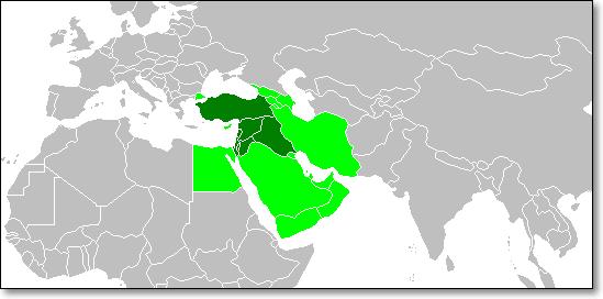 근동(서아시아). 진한 초록색은 현대 고고학과 역사학에서의 근동이고, 연두색은 넓은 의미에서의 근동이다. (위키미디어 공유)