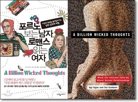 [포르노 보는 남자, 로맨스 읽는 여자] 오기 오가스, 사이 가담 공저 / 왕수민 역 | 웅진지식하우스 | 2011년 (왼쪽) | 원제: A Billion Wicked Thoughts: What the Internet Tells Us About Sexual Relationships (2011, 오른쪽)