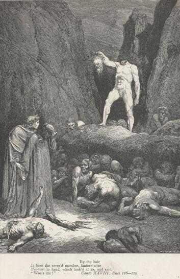 신곡 지옥편 28곡에서 베르트랑이 자신의 머리를 들고 있는 삽화(귀스타브 도레, 1857).
