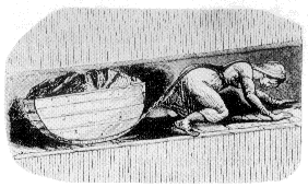 18세기 영국, 좁은 갱도에서 석탄을 옮기는 어린 노동자 (