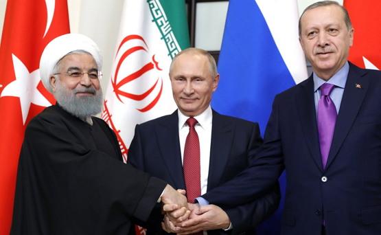지난 2019년 소치에서 정상회담을 연 로하니 이란 대통령, 푸틴 러시아 대통령, 에르도안 터키 대통령 (왼쪽부터, 출처: 크레믈린) http://www.kremlin.ru/events/president/news/56152/photos/51379