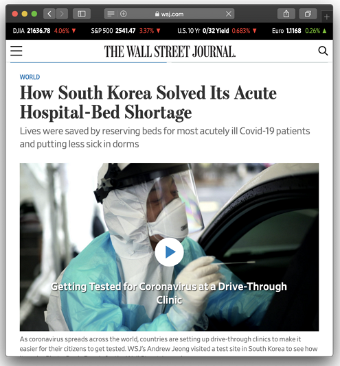 WSJ, How South Korea Solved Its Acute Hospital-Bed Shortage, Dasl Yoon, 2020. 3. 22. https://www.wsj.com/articles/how-south-korea-solved-its-acute-hospital-bed-shortage-11584874801