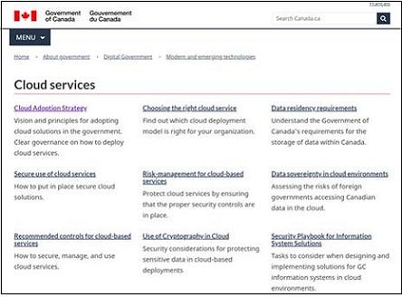 캐나다 정부의 클라우드서비스 관련 정보 페이지