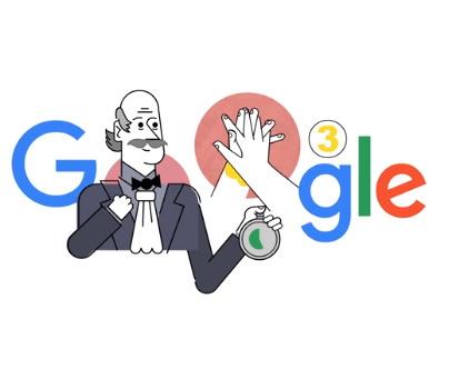 의학적인 개념으로서 손씻기를 '정립'한 이그나츠를 기념한 구글 두들(구글의 로고)
