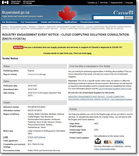'산업계 참여 이벤트 공지: 클라우드컴퓨팅 솔루션 자문' https://buyandsell.gc.ca/procurement-data/tender-notice/PW-EEM-033-28081