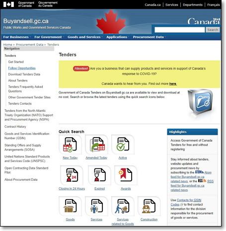 캐나다 정부 조달 공식 사이트 https://buyandsell.gc.ca/procurement-data/tenders