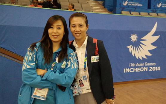 2014년 인천아시안게임 경기운영 당시 김경아 (2004 아테네 올림픽, 2008 베이징 올림픽 동메달리스트) 대한항공 코치와
