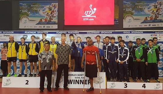 2017년 피지 수바에서 열린 ITTF 월드카뎃찰랜지 대회 아시아팀 우승 시상식