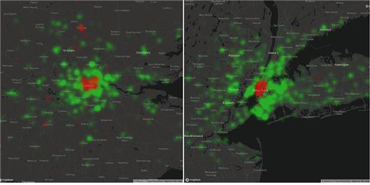 런던(왼쪽)과 뉴욕(오른쪽)의 인터넷 사용 증가 (녹색이 증가를 나타냄)