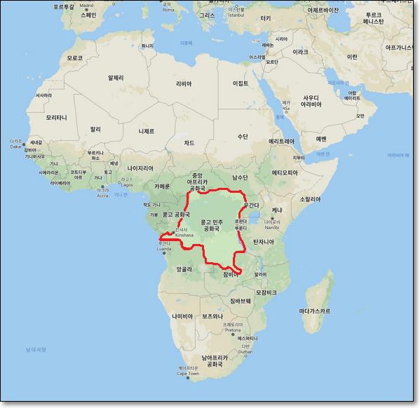 콩고민주공화국(République démocratique du Congo, 출처: 구글 지도)