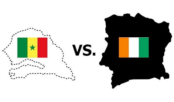 건국 이후 세네갈(왼쪽)과 코트디부아르의 경쟁은 코트디부아르의 압승으로 끝났다.